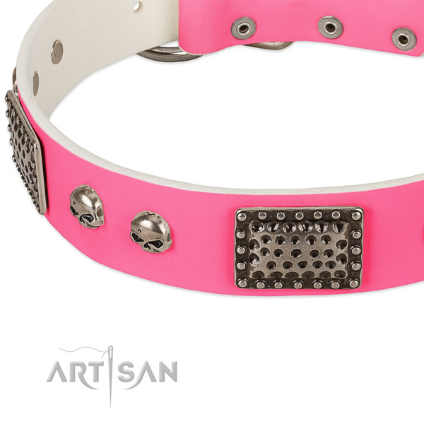 Rust resistant fittings on genuine leather dog collar for your canine