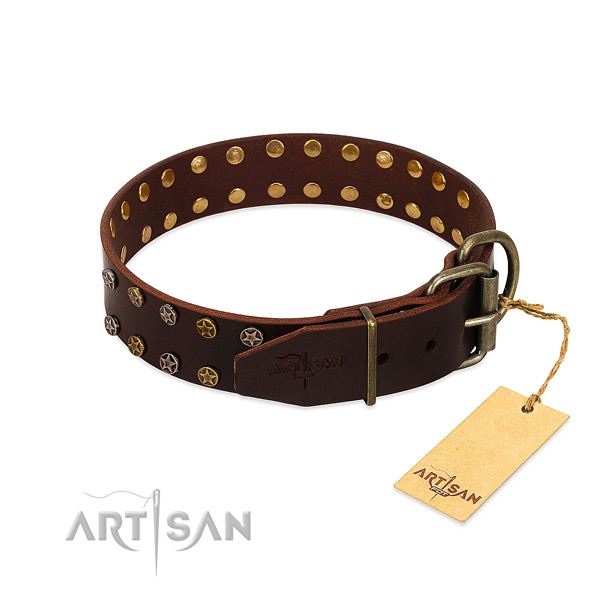 Handy use full grain leather dog collar with stylish design adornments