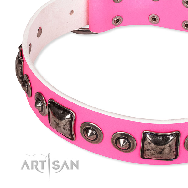 Durable natural genuine leather dog collar made for your impressive doggie