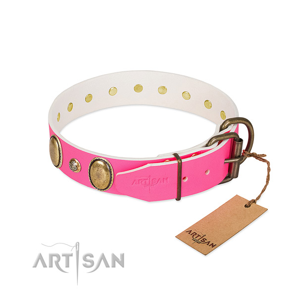 Easy wearing flexible leather dog collar