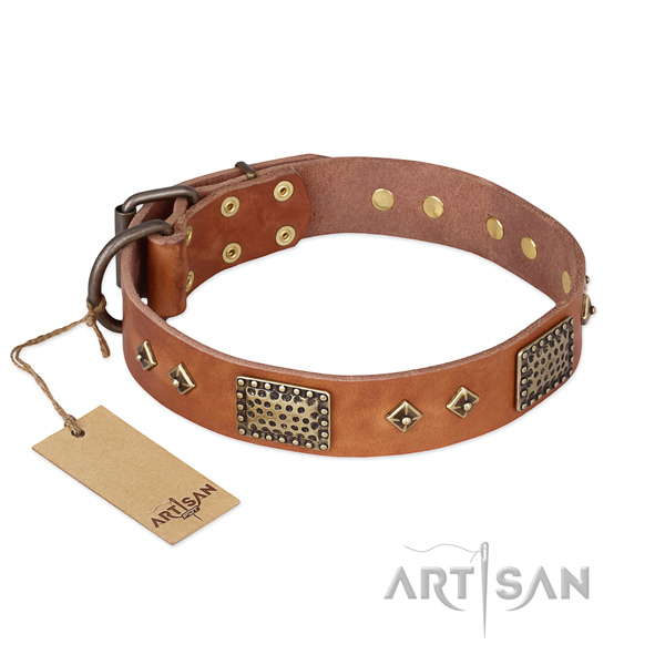 Adjustable leather dog collar for comfortable wearing