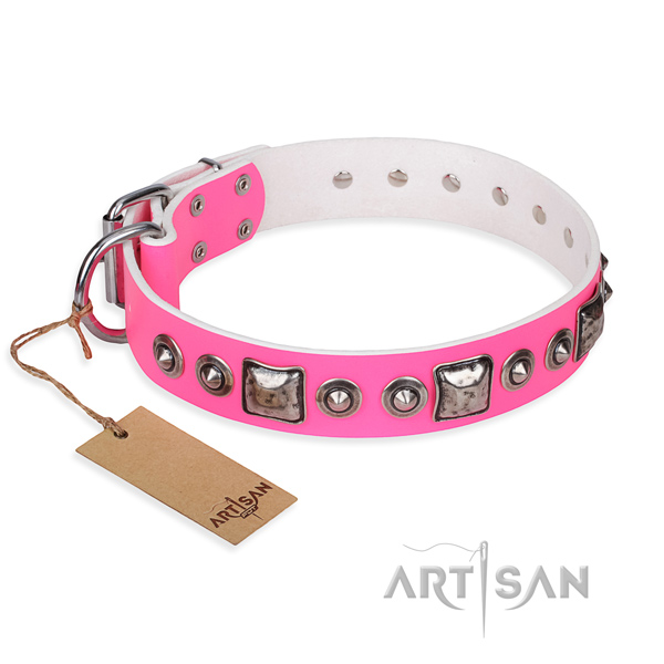 Full grain genuine leather dog collar made of high quality material with rust resistant buckle