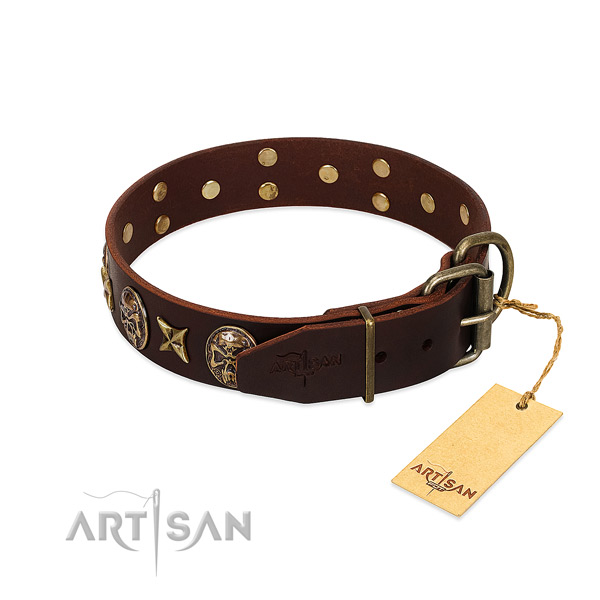 Full grain natural leather dog collar with corrosion resistant traditional buckle and decorations