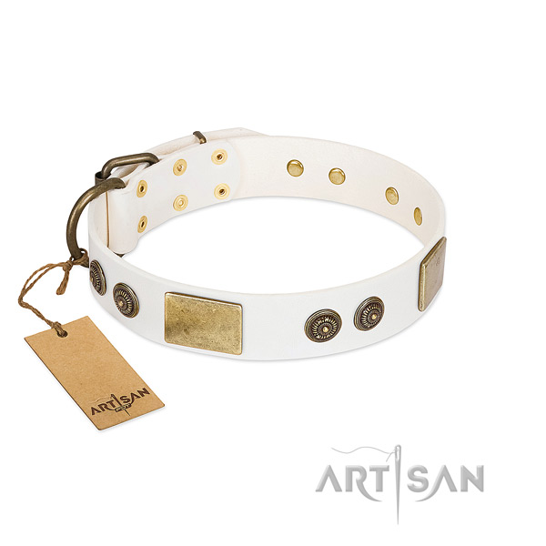 Perfect fit genuine leather dog collar for handy use