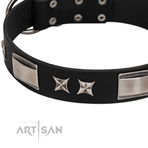 High quality natural leather dog collar with rust resistant D-ring