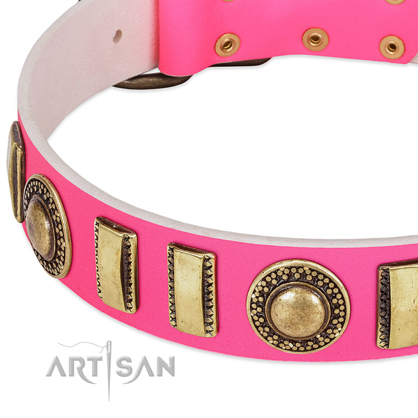 Durable genuine leather dog collar for your beautiful doggie
