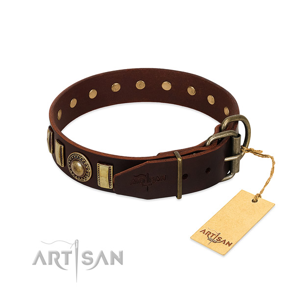 Impressive genuine leather dog collar with corrosion proof traditional buckle