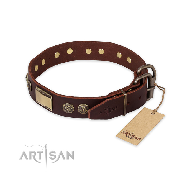 Strong buckle on natural genuine leather collar for basic training your doggie