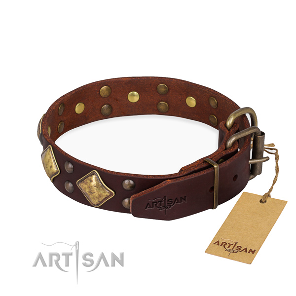 Full grain genuine leather dog collar with unique reliable decorations