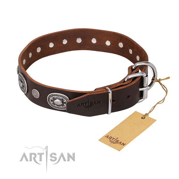 Gentle to touch full grain natural leather dog collar handmade for walking
