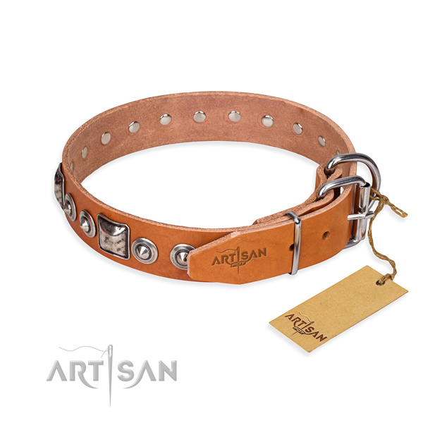 Full grain genuine leather dog collar made of gentle to touch material with rust resistant studs