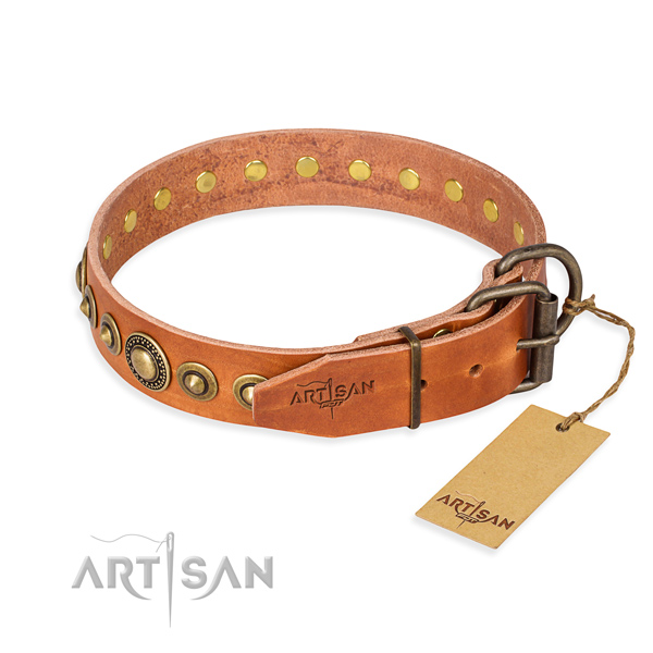 Soft to touch leather dog collar made for everyday use