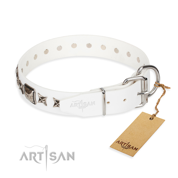 Fine quality decorated dog collar of genuine leather