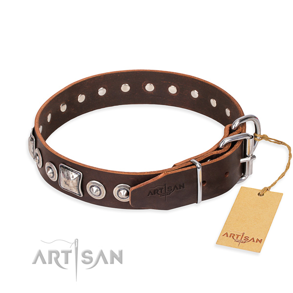 Natural genuine leather dog collar made of best quality material with reliable adornments