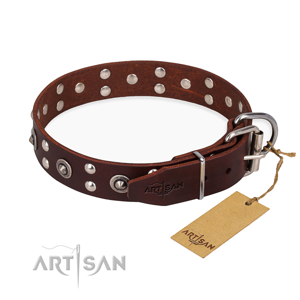 Rust resistant fittings on full grain natural leather collar for your impressive canine