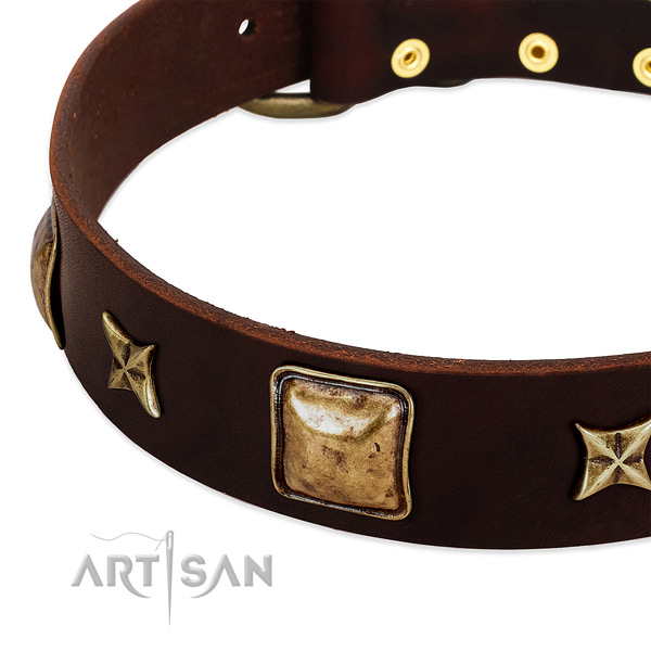 Rust-proof D-ring on natural genuine leather dog collar for your doggie