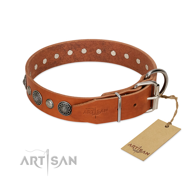 Gentle to touch natural leather dog collar with rust-proof traditional buckle