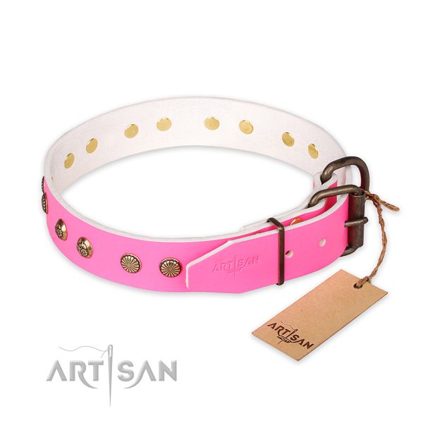 Rust resistant buckle on natural genuine leather collar for your handsome doggie