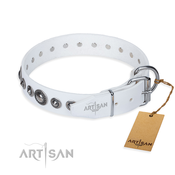 Leather dog collar made of top notch material with corrosion proof embellishments