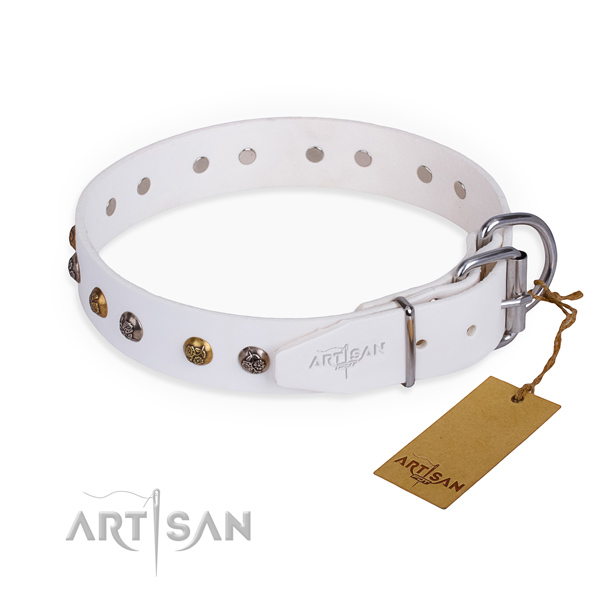 Full grain leather dog collar with stylish design rust-proof adornments