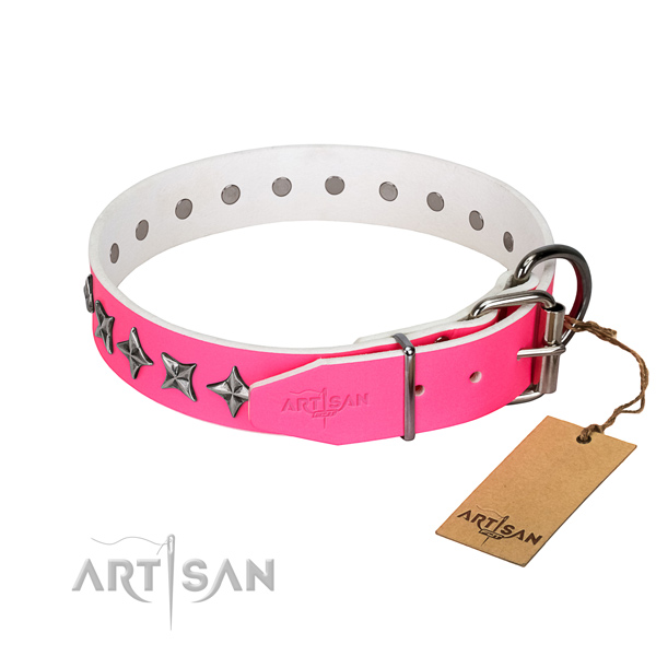 Strong genuine leather dog collar with designer adornments