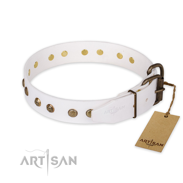 Rust resistant D-ring on genuine leather collar for your lovely canine