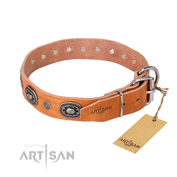 Soft genuine leather dog collar created for daily use