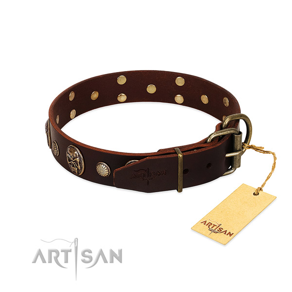Corrosion proof buckle on handy use dog collar