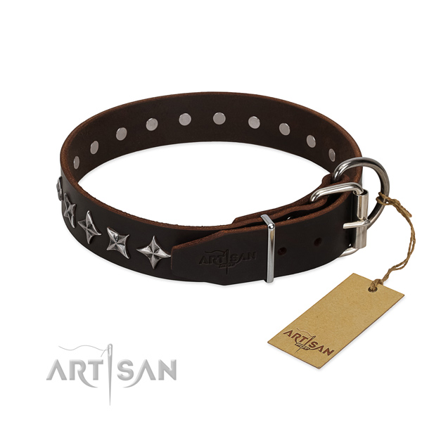Fancy walking adorned dog collar of best quality natural leather