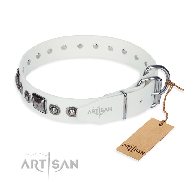 Best quality genuine leather dog collar crafted for easy wearing