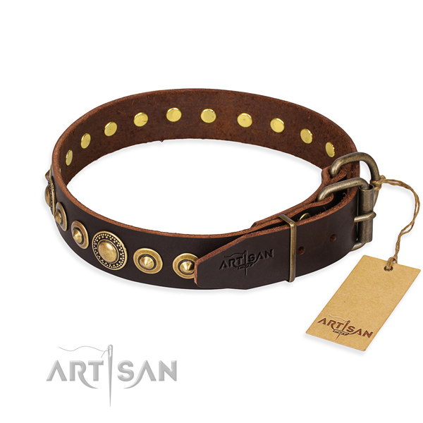 Quality genuine leather dog collar created for easy wearing