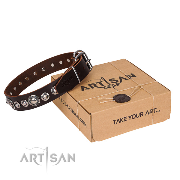Full grain leather dog collar made of top notch material with durable hardware