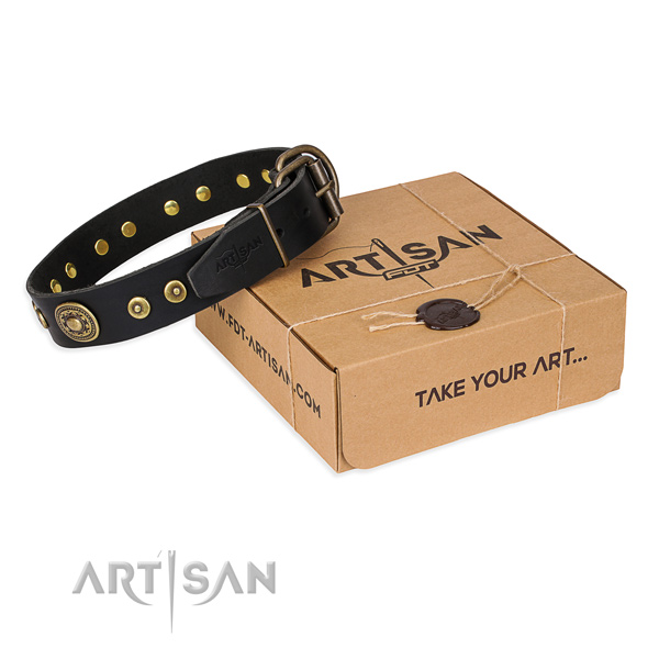 Natural genuine leather dog collar made of soft material with reliable buckle