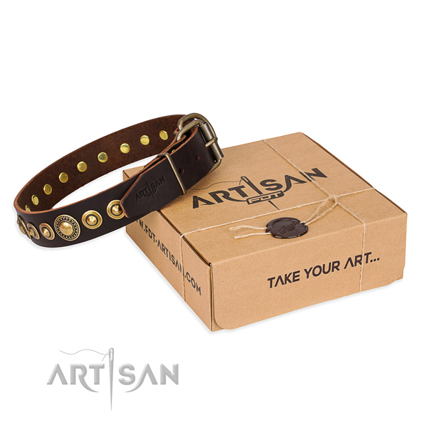 Reliable full grain genuine leather dog collar handcrafted for daily use
