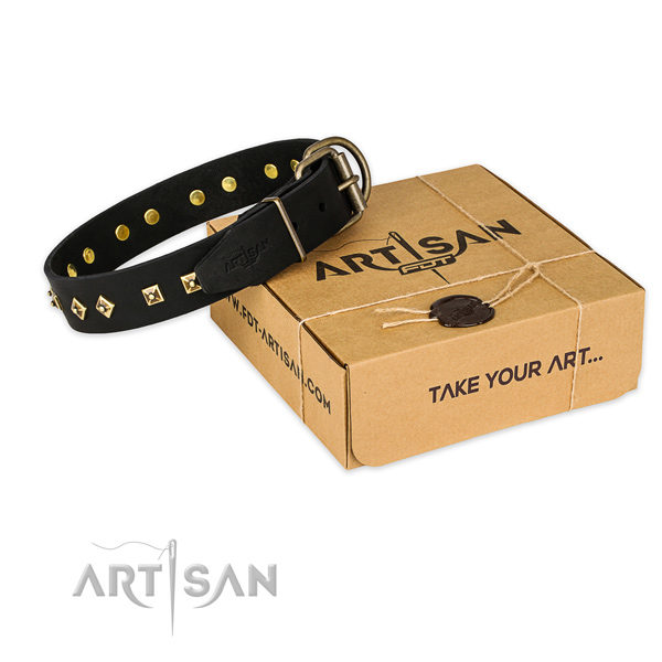 Reliable hardware on full grain natural leather dog collar for daily use
