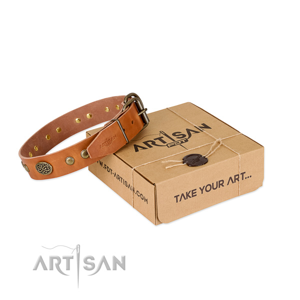 Durable hardware on full grain genuine leather dog collar for your doggie