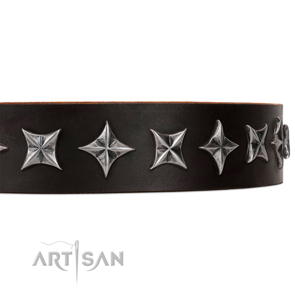 Easy wearing studded dog collar of top notch leather