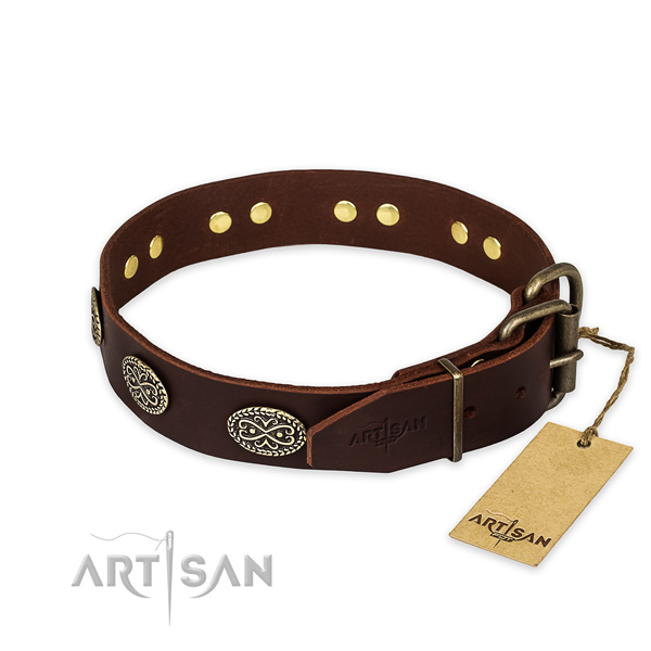 Durable fittings on full grain genuine leather collar for your stylish pet