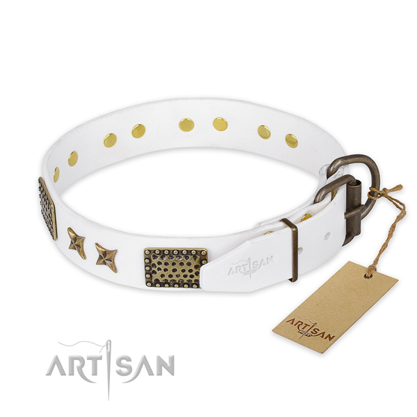 Durable hardware on full grain genuine leather collar for your attractive pet
