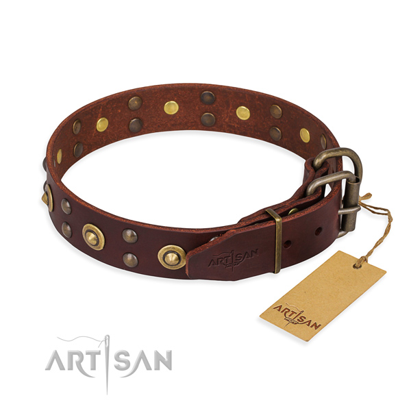 Rust resistant traditional buckle on genuine leather collar for your attractive pet