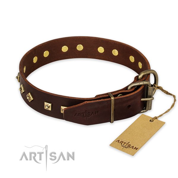 Rust resistant traditional buckle on full grain genuine leather collar for fancy walking your canine