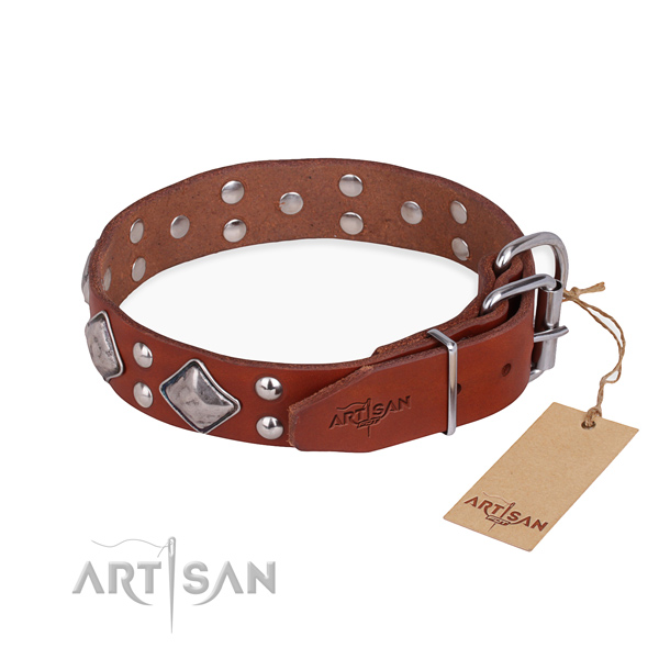 Genuine leather dog collar with stylish design rust resistant adornments