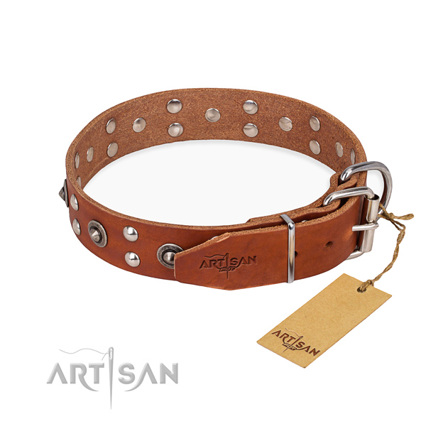 Rust resistant fittings on full grain leather collar for your beautiful dog