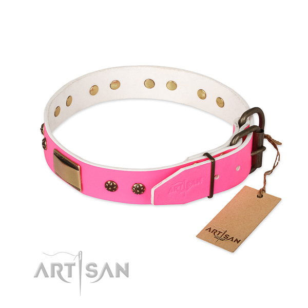 Durable studs on genuine leather dog collar for your four-legged friend