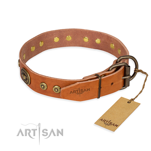 Natural genuine leather dog collar made of top notch material with corrosion proof decorations