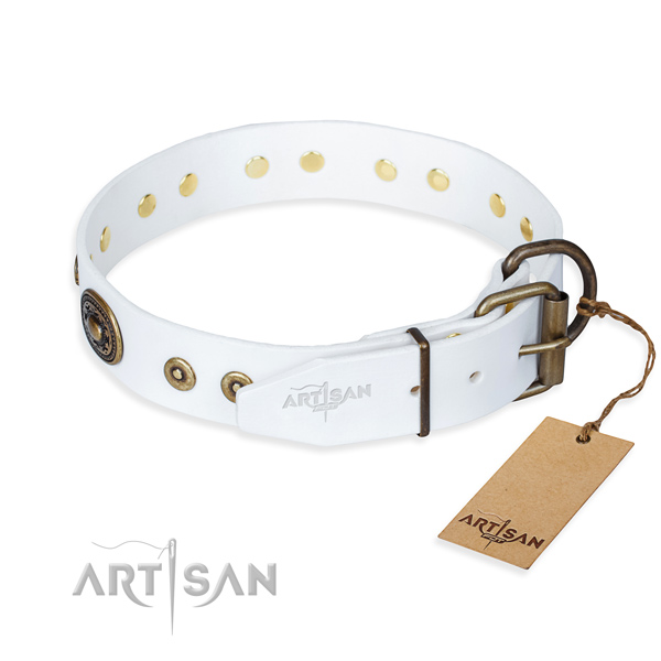 Natural genuine leather dog collar made of top notch material with corrosion resistant adornments