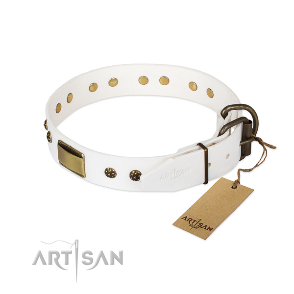 Natural genuine leather dog collar with durable buckle and embellishments