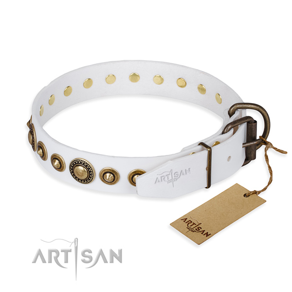 Soft genuine leather dog collar created for comfortable wearing