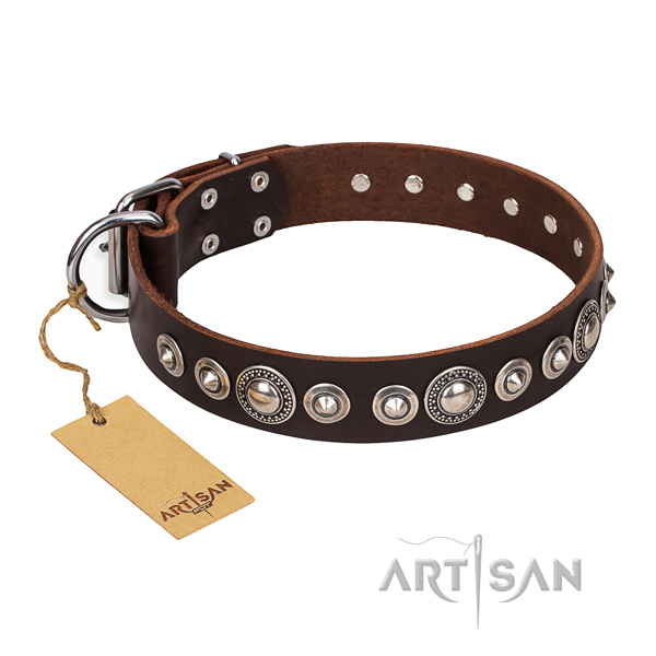 Leather dog collar made of high quality material with rust resistant studs