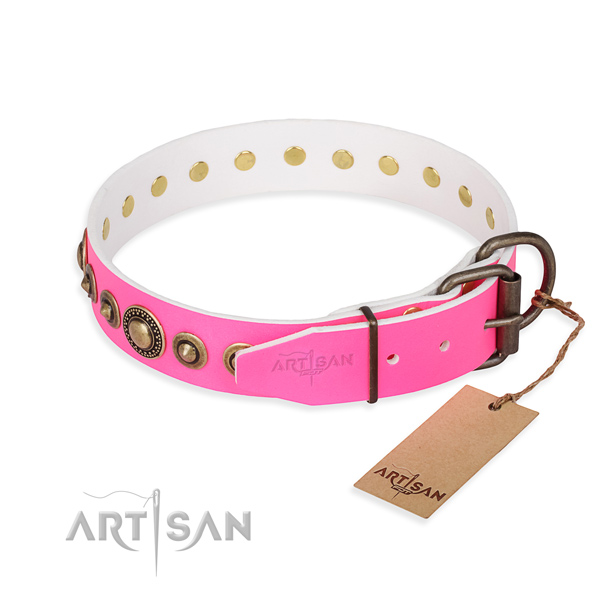 Quality full grain genuine leather dog collar handcrafted for everyday use